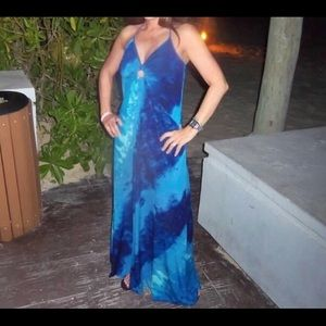 White House black market blue maxi dress